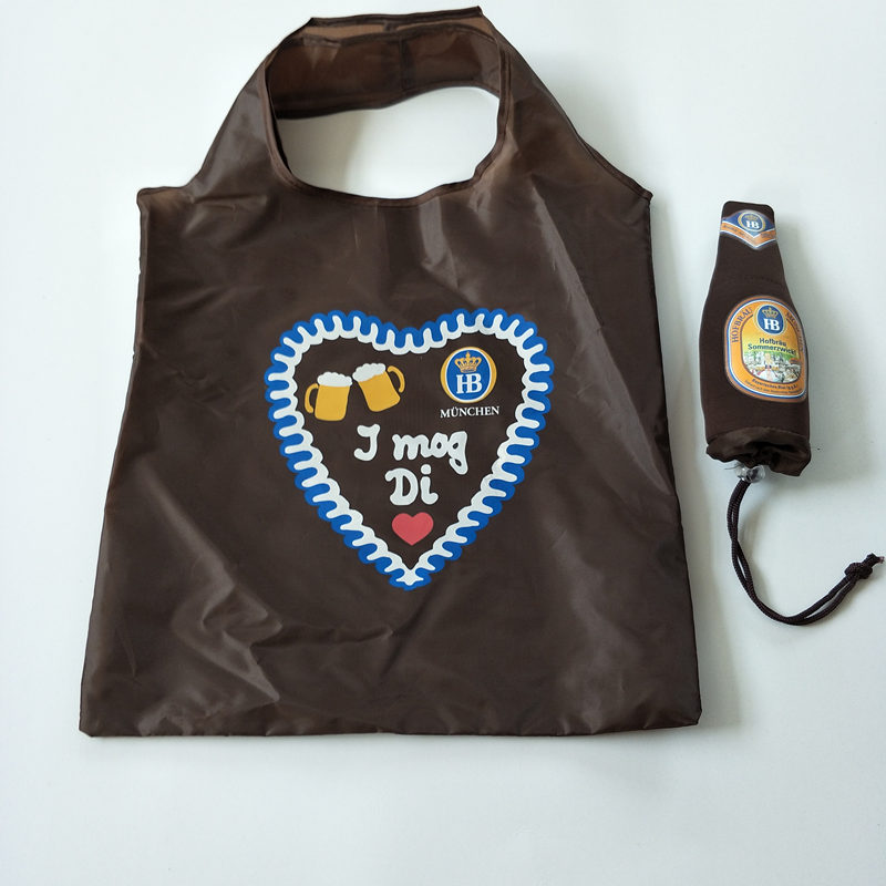 beer bottle shape 190t polyester foldable shopping bag