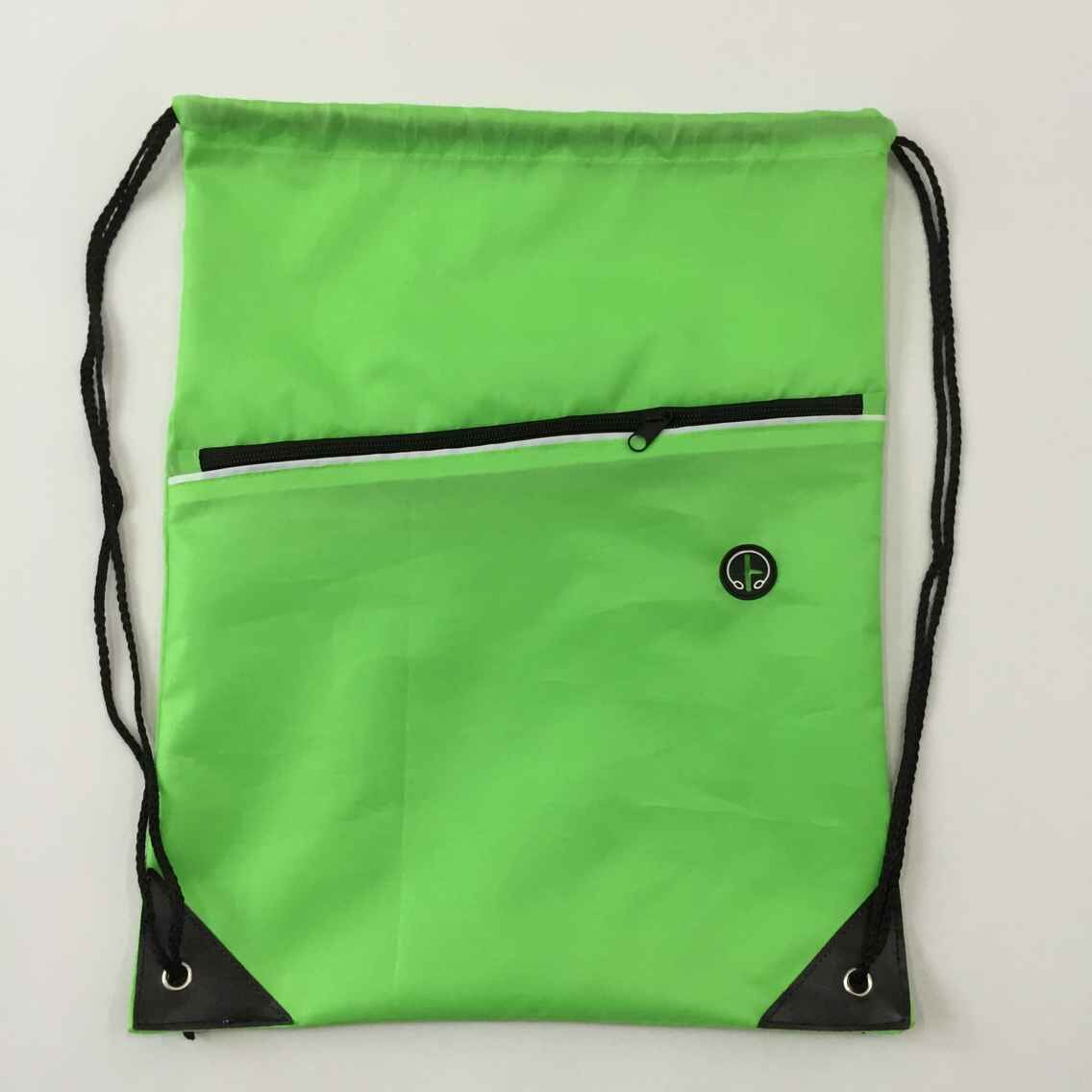 210d polyester drawstring bag with front zipper pocket with headphone jack