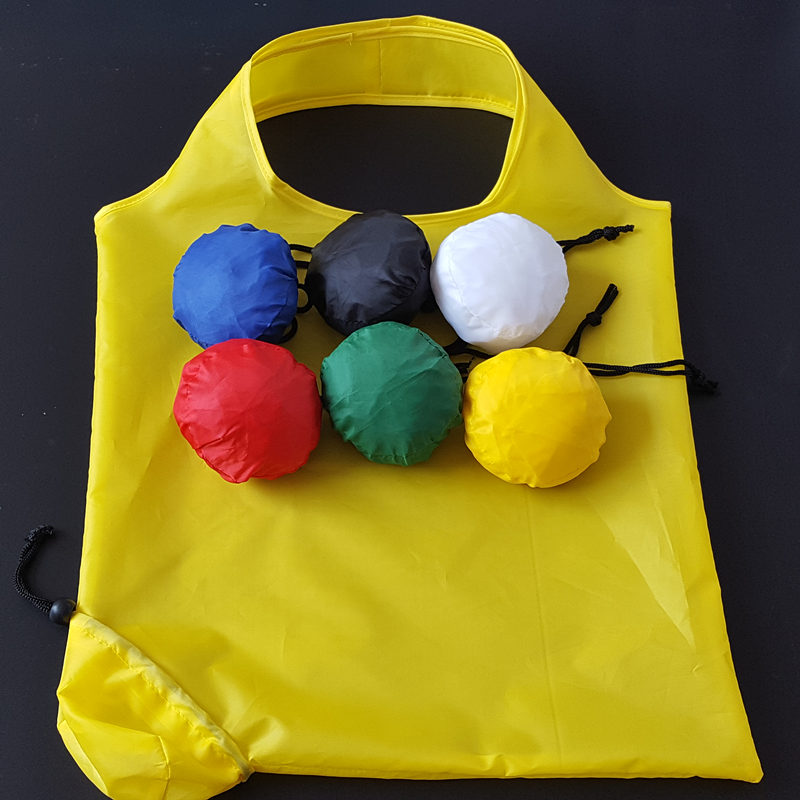 Factory custom 190t round roll shaped foldable polyester shopping bag