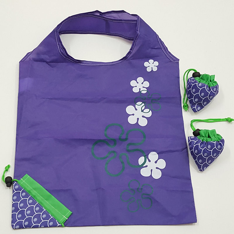 custom 190t grape reusable polyester shopping tote bag