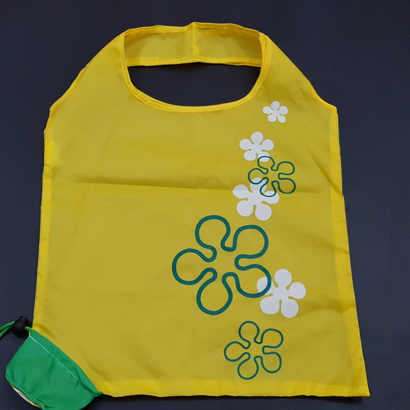 custom lemon 190t eco promotional polyester folding shopping bag
