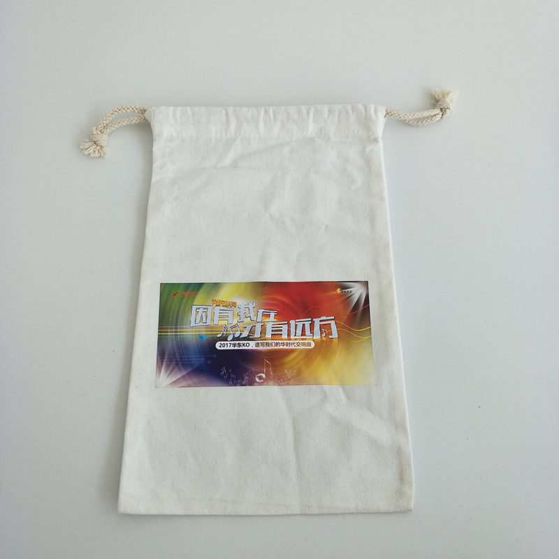 custom promotional 8oz 100% full cotton gift drawstring bag