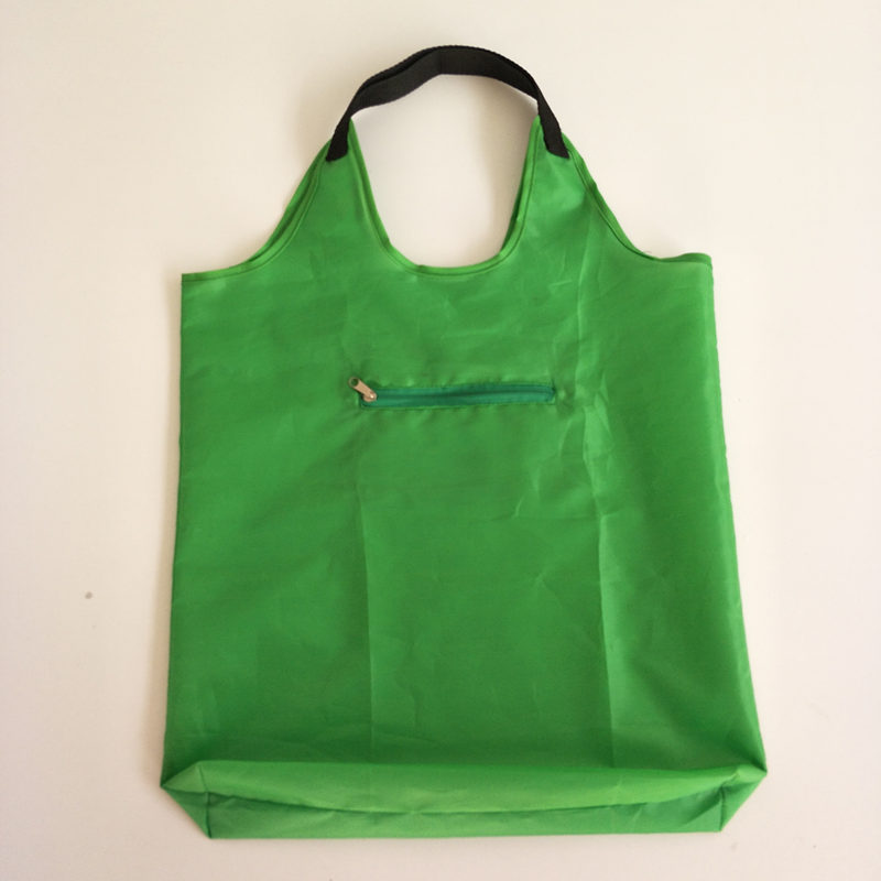 factory custom 190t green reusable eco zipper foldable shopping tote bag